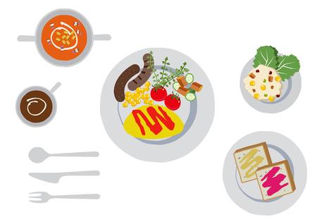 Illustration of breakfast. Omelette clip art. Illustration of snacks. Illustration of cooking.
