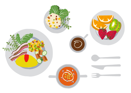 Illustration of breakfast. Omelette clip art. Illustration of snacks. Illustration of cooking.
