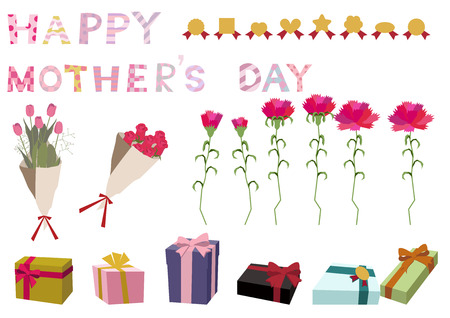 The message of Mothers Day. Clip art of Mothers Day. Message of appreciation. Image of carnation and Mothers Day. Illustration of a message on Mothers Day. Иллюстрация
