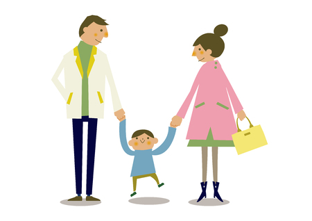 Spring parent-child clip art. Illustration of the family of spring clothes.