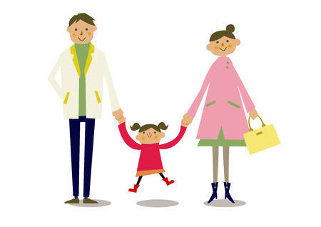 Spring parent-child clip art. Illustration of the family of spring clothes. Illustration of a person.