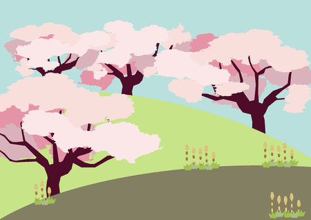 Cherry tree background. Spring landscape. Spring clip art. Image of cherry tree and spring field. Season clip art.
