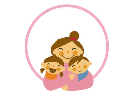 Mothers Day sticker... Parentchild stickers. Clip art of mother and children. Clip art of the mother and her children. Design material of Mothers Day. Clip art of Mothers Day. Illustration