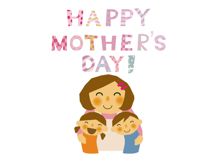 Mothers Day sticker. Parentchild stickers. Clip art of mother and children. Clip art of the mother and her children. Design material of Mothers Day. Clip art of Mothers Day. Illustration