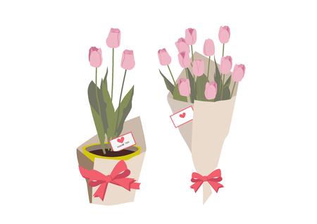 Spring flower gift. Spring flower. Illustration of a tulip. Tulip flower gift. Botanical art. Ilustracja