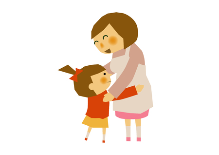 Illustration of mother and child. An image of mother and child. Parenting clip art. Nursery clip art. Ilustracja