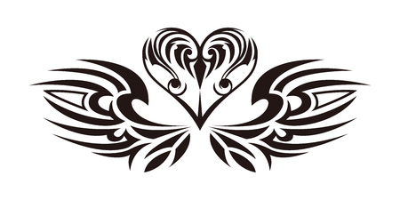 Tribal sticker. Heart and wings. Design of angel wings and hearts. Tribal design.