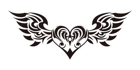 Tribal ... adesivo tribal. Coração e asas. Design de asas de anjo e corações. Design tribal. Foto de archivo - 94671446