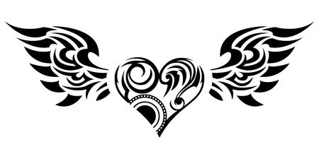 Tribal ... adesivo tribal. Coração e asas. Design de asas de anjo e corações. Design tribal. Foto de archivo - 94671443