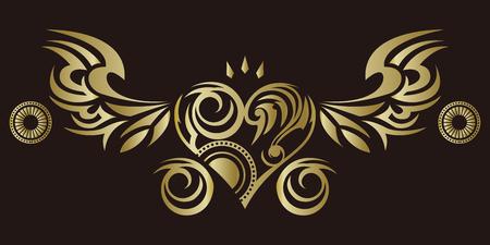 Adesivo tribal. Coração e asas. Design de asas de anjo e corações. Design tribal. Foto de archivo - 94792911
