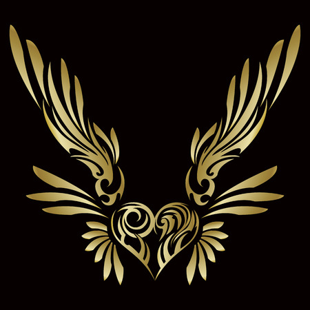 Tribal... Tribal sticker. Heart and wings. Design of angel wings and hearts. Tribal design.