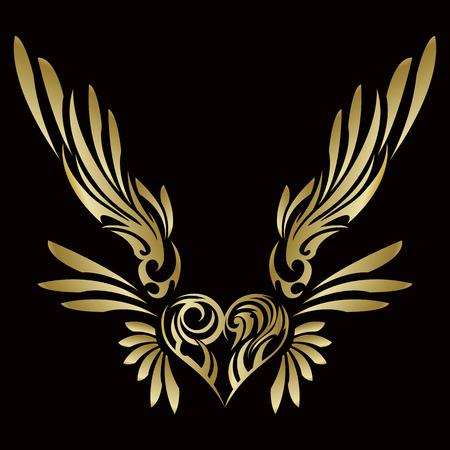 Stammes-? Stammes- Aufkleber. Herz und Flügel. Design von Engelsflügeln und -herzen. Stammes-Design.
