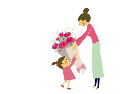 母の日おめでとう子供とのマタニティのイメージ。母子の愛情のイメージ。母親の愛と子供のイメージ。