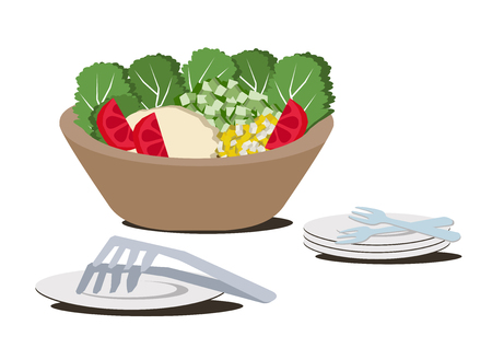 Illustration for restaurants.Salad bowl clip art. Ilustrace