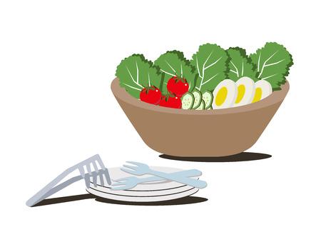 Illustration for restaurants.Salad bowl clip art. Illustration