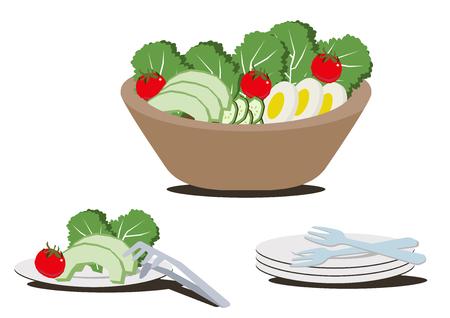 Illustration for restaurants.Salad bowl clip art. Ilustrace