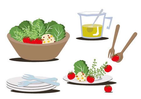 Illustration for restaurants.Salad bowl clip art. Ilustração