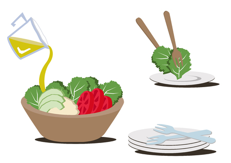 Illustration for restaurants.Salad bowl clip art.