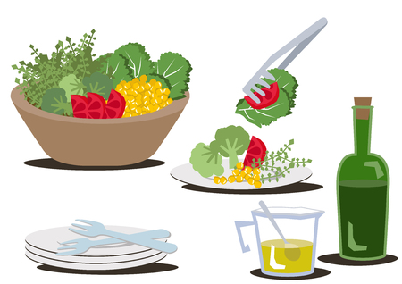 Salad bowl clip art.An illustration of a healthy salad.