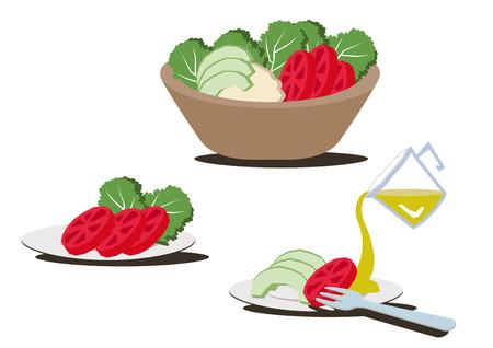 Salad bowl clip art.An illustration of a healthy salad.