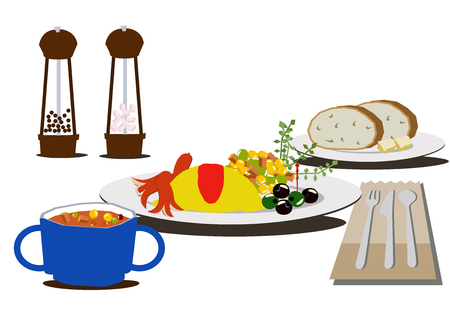 Breakfast clip art. Breakfast of omelettes.Coffee and omelets.