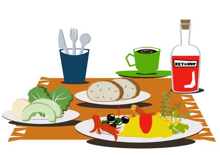 Breakfast clip art. Breakfast of omelettes.Coffee and omelets. Reklamní fotografie - 106215462