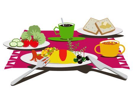 Breakfast clip art. Breakfast of omelettes.Coffee and omelets. Reklamní fotografie - 106215463