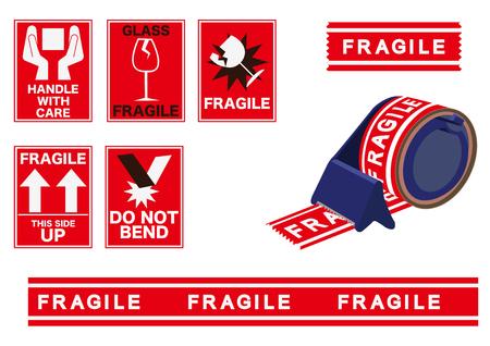 Ilustración de pegatinas de embalaje. Material para embalaje. Adhesivo de la empresa de transporte. Icono de la naviera. Etiqueta de entrega.