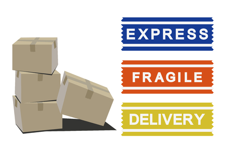 Image of carrier. Handling attention sticker. Sticker for home delivery. Foto de archivo - 106482990