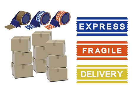 Image of carrier. Handling attention sticker. Sticker for home delivery.
