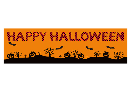 Banner of Jack O Lantern.Autumn material collection. Material collection for Halloween. Material of October. Halloween banner. Illustration