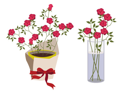 Rose flower clip art. Rose flower design material. Illustration of a red rose gift. Rose flower bouquet. Illusztráció