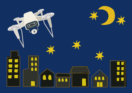 Illustration of Drone. A drone clip art flying in the sky. An illustration of a future machine.