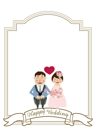 Variations on wedding cards. Wedding card material. Illustration of the bride and groom. Design for the wedding. Clip art of the bridegroom and bride. Wedding frame design. Clip art of marriage.