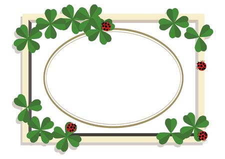 Marienkäfer- und Kleerahmen. Gestaltungsmaterial. Eine Sammlung von Rahmen. Ein Symbol für Glück. Vektorgrafik