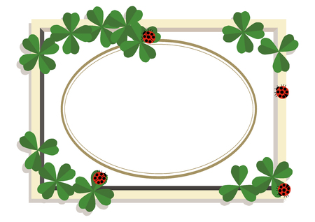 Ladybug and clover frame. Design material. A collection of frames. A symbol of good luck.