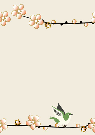 Plum and white-eye pattern. Seamless Japanese pattern. Spring Japanese pattern. Image illustration of plum blossoms.