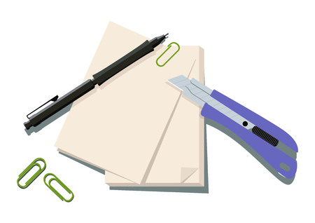 Image illustration of stationery. Cutter Knife clip art. Paper and cutter knife vector illustration.