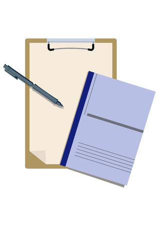Illustration of the clipboard and pen. Vector Illustratie