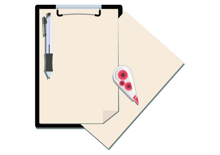 Illustration of the clipboard and pen.