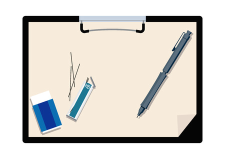 Illustration of the clipboard and pen. Clip art of stationery.  イラスト・ベクター素材