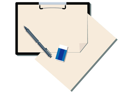 Illustration of the clipboard and pen. Clip art of stationery.
