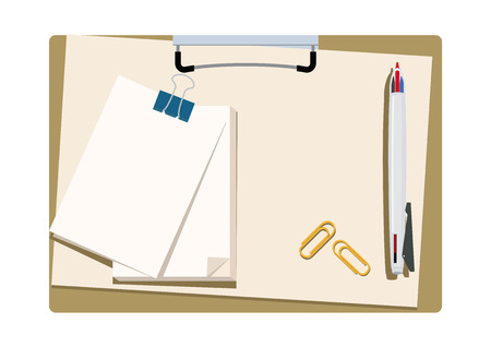 Illustration of the clipboard and pen. Clip art of stationery. Vector Illustratie