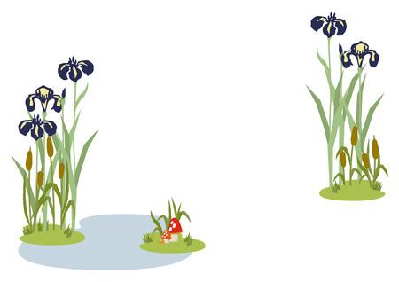 Illustration of Japanese early summer landscape. Illustration of iris flower. Japanese style flower clip art. Japanese style flower landscape. Image of seasonal flowers.