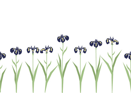 Illustration of Japanese early summer landscape. Illustration of iris flower. Japanese style flower clip art. Japanese style flower landscape. Image of seasonal flowers.