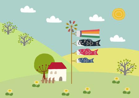 Illustration of carp streamer. symbol of May in Japan.