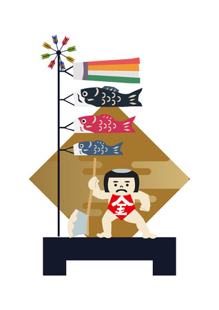 Boys ' Festival dolls May... Illustration of Japanese festival. Seasonal holiday in japan. An image of the May festival. Symbol of Japan's early summer event. Amulet doll for May festival.