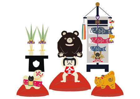 Illustration of Japanese festival. Seasonal holiday in japan. An image of the May festival. Symbol of Japans early summer event. Amulet doll for May festival.