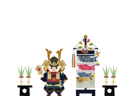 Illustration of Japanese festival. Seasonal holiday in japan. An image of the May festival. Symbol of Japan's early summer event. Amulet doll for May festival. Foto de archivo - 121414831