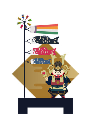 Illustration of Japanese festival. Seasonal holiday in japan. An image of the May festival. Symbol of Japan's early summer event. Amulet doll for May festival.